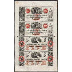 Uncut Sheet 1800's $10/$10/$5/$5 Hagerstown Bank Obsolete Notes