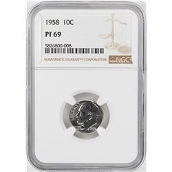 1958 Proof Roosevelt Dime Coin NGC PF69