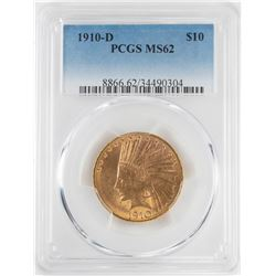 1910-D $10 Indian Head Eagle Gold Coin PCGS MS62