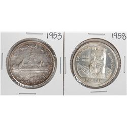 1953 & 1958 $1 Canada Silver Dollar Coins