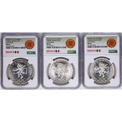 Lot of (3) 1968Mo Mexico City Olympics 25 Pesos Silver Coins NGC MS66