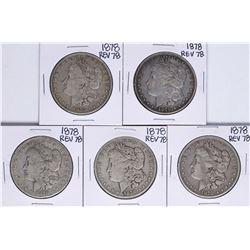 Lot of (5) 1878 Reverse of 78' $1 Morgan Silver Dollar Coins