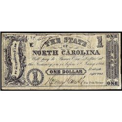 1862 $1 The State of North Carolina Obsolete Banknote