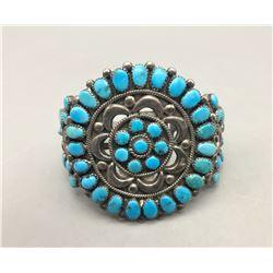 Vintage Turquoise and Sterling Silver Cluster Bracelet