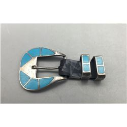 Vintage Turquoise Inlay Belt Buckle