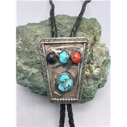 Vintage Turquoise, Onyx and Coral Bolo