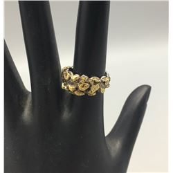 Sterling Silver and Gold Nugget Ring