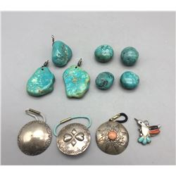 Miscellaneous Hair Ties, Pendants, Turquoise Beads, Etc.