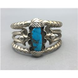 Unique Cast Turquoise and Sterling Silver Bracelet