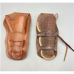 Two Double Loop Leather Holsters