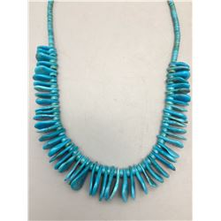 Teardrop Shaped Turquoise Bead and Heishi Necklace