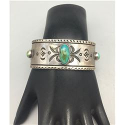 Nice Coin Silver Ingot Bracelet with Green Turquoise - Old School Style!