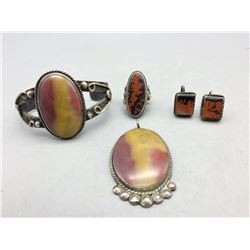 Vintage Petrified Wood and Sterling Silver Jewelry Group
