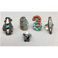 Five Vintage Inlay Rings