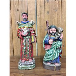 Two Religious Folk Art Santos