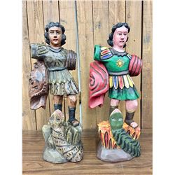 Two Folk Art Religious Santos