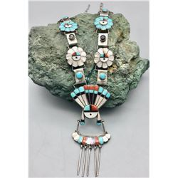 Zuni Inlay Sunface Necklace
