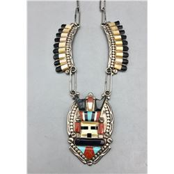 Zuni Inlay Antelope Kachina Necklace