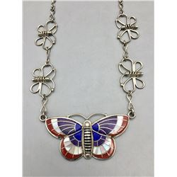 Zuni Inlay Butterfly Necklace