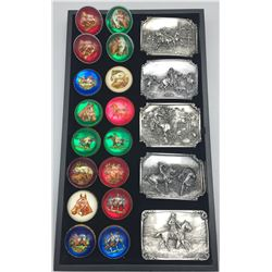 Group of C.M. Russell Limited Edition Belt Buckles and Vintage Rosettes