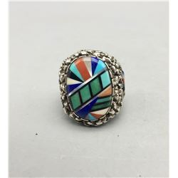 Lee and Mary Weebothee Zuni Inlay Ring