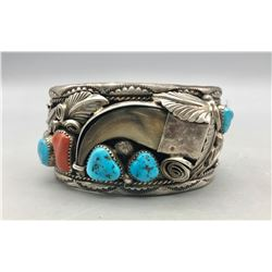 Vintage Turquoise, Coral and Claw Bracelet