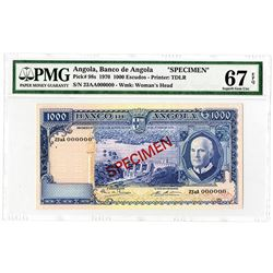 Banco de Angola. 1970 Specimen Banknote.