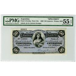 Admin. De la Colonia Ocampo. 1888. Specimen Banknote.