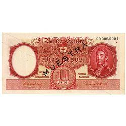 Banco Central De La Republica Argentina, 1950-60s Specimen Banknote.