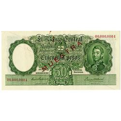 Banco Central de la Republica Argentina. ND (1940s-1950s) Specimen Note.