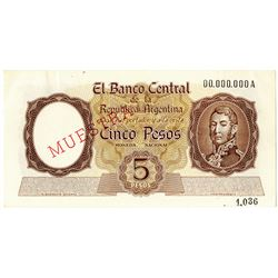 Banco Central de la Republica Argentina. ND (1960s) Specimen Note.