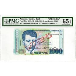 Central Bank of Armenia. 2001 (ND 2002). Specimen Banknote.