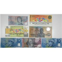 Reserve Bank of Australia. 1988-1993. Lot of 7 Issued Notes.