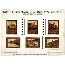 St. Wolfgang am Wolfgangsee. 1920. Uncut Notgeld Proof Sheet.