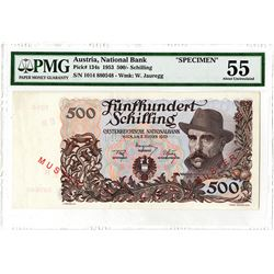 National Bank of Austria. 1953. Specimen Banknote.