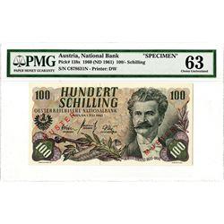 National Bank of Austria. 1960 (ND 1961). Specimen Banknote.