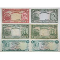 Bahamas Government. 1936-1965. Lot of 6 Issued Notes.