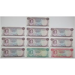 Bahamas Monetary Authority. 1968. Lot of 10 Issued Notes.