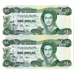 Central Bank of the Bahamas, 2002. Sequential Pair of Banknotes