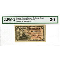 Banque du Congo Belga. 1914 Issue Banknote.