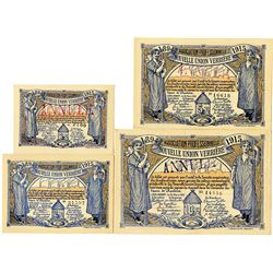 Association Professionnelle Nouvelle Union Verriere, 1915 Group of Issued Banknotes.