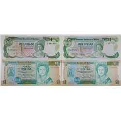 Monetary Authority of Belize. 1980-1990. Lot of 4 Issued Notes.