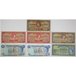 Bermuda Government. 1937-1978. Lot of 7 Issued Notes.
