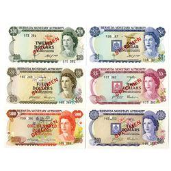 Bermuda Monetary Authority, 1978 to 1984 Specimen Set of 6 Notes.