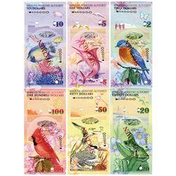 Bermuda Monetary Authority, 2009 Specimen Set of 6 Notes.