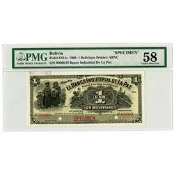 Banco Industrial de la Paz. 1900 Specimen Banknote.