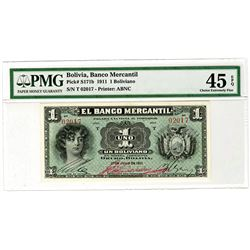 Banco Mercantil. 1911. Issued Banknote.
