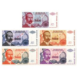Narodna Banka Republike Srpske. 1993. Quintet of Specimen Notes.