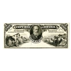 Imperio do Brazil. ND (ca. 1885). Essay Proof Banknote Similar to Estampa 8 but Estampa 2A Is engrav