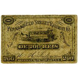 Pernambuco Street Railway. ND (1880s-1890s). 200 Reis Railroad Scrip Note.
